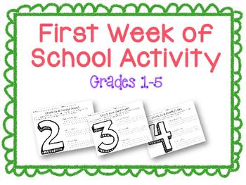FREEBIE! First Week of School Activity