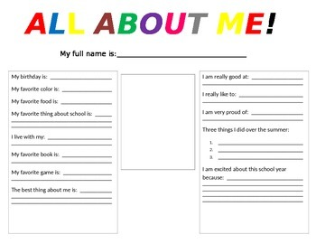 First Week of School Activity - All About Me