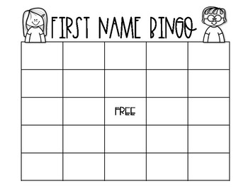 First Week of School Activity: First Name BINGO