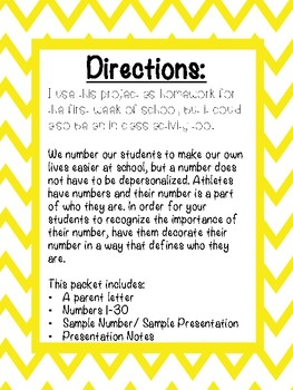 First Week of School Activity- Own Your Number