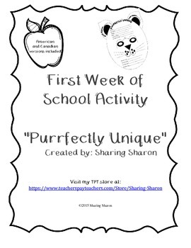 First Week of School Activity - Purrfectly Unique