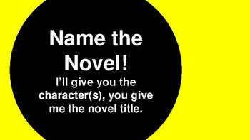 First Week of School Activity for High School English classes - Name the Novel