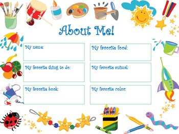 First Week of School - All About Me!