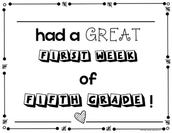 First Week of School Awards - PreK - Fifth Grade