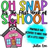 First Week of School Back to School Kindergarten Activities