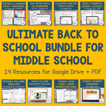 First Week of School Activities for Middle School Students (Google Drive +  PDF)