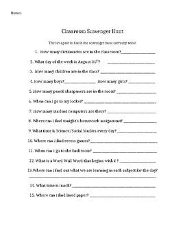 First Week of School- Classroom Scavenger Hunt