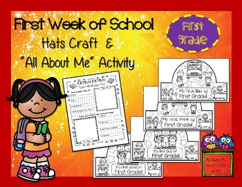 First Week of School - First Grade Hats Craft and All About Me Activity