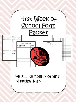First Week of School Form Packet + Morning Meeting Plan