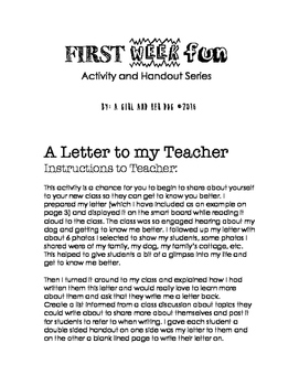 First Week of School Fun   A Letter to My Teacher by a girl and