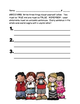 First Week of School Get to Know You Activity