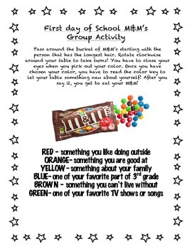 First Week of School Get to Know you game with M&M's