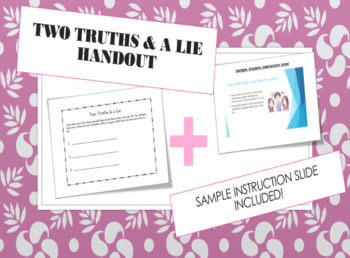 First Week of School Ice Breaker Activity Game - Two Truths & a Lie