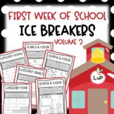 First Week of School Ice Breakers for Back to School Volume 2