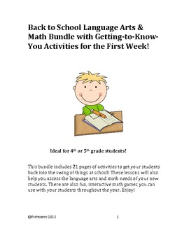 First Week of School Language Arts, Math, & Getting to Know You Activities