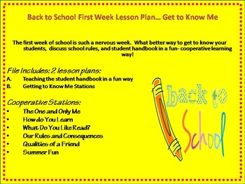 First Week of School Lesson Plans and Resources