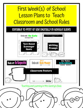 First Week of School Lesson Plans to Teach Classroom and School Rules