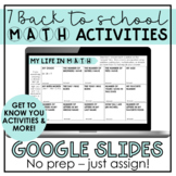 First Week of School Math Activities for Distance Learning