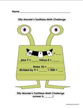 Halloween Math Marvy Monster's Challenges Centers Printables