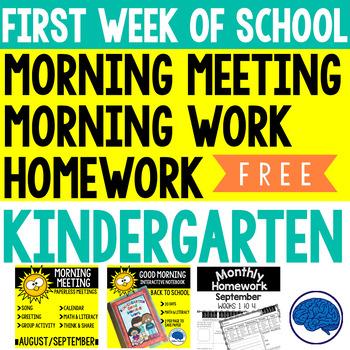 First Week of Kindergarten Morning Meeting, Morning Work & Homework