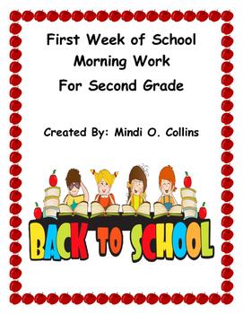 First Week of School Morning Work