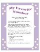 First Week of School: My Favorite Number - A Get to Know You Mini Poster