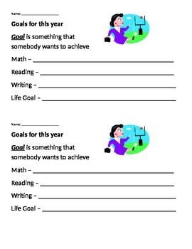 """First Week of School - """"My Goals"""" Sheet"""