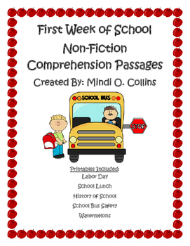 First Week of School Non-Fiction Reading Comprehension