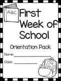 First Week of School - Orientation Pack for Preschoolers a