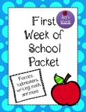 First Week of School Packet, Back to School Activities, Pr