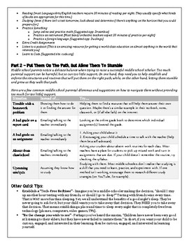 Middle School Survival Guide for Parents - Get on the same page the first week!