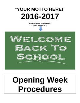 First Week of School (Procedures)