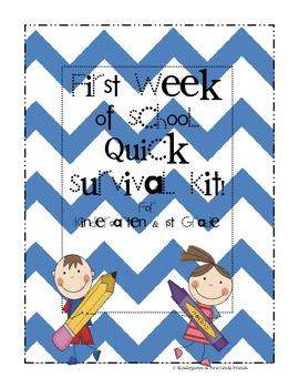 First Week of School Quick Survival Kit Chevron Pattern