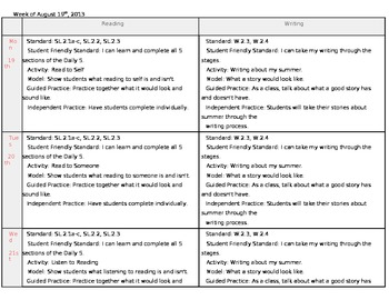 First Week of School Reading & Writing Lesson Plan Common Core