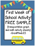 First Week of School Resource - FREE SAMPLE! {transportation graph & activities}