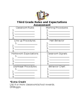 First Week of School Rules, Expectations, and Procedures Assessment