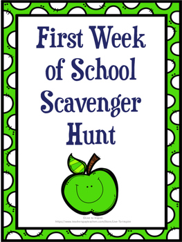 First Week of School Scavenger Hunt