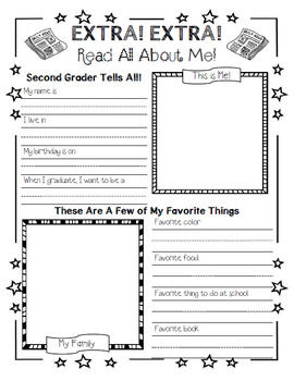 First Week of School- Second Grade- Hats Craft & All About Me Writing Activity