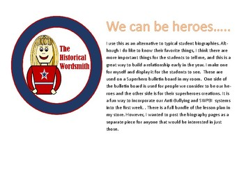 Back to School Superhero Student Biographies
