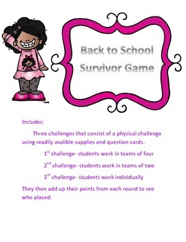 Back to School Survivor Themed Game