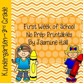 First Week of School No Prep Printables