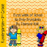First Week of School No Prep Printables