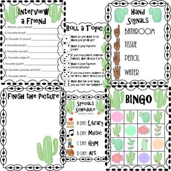 First Week Of School Survival Pack Cactus Theme Editable