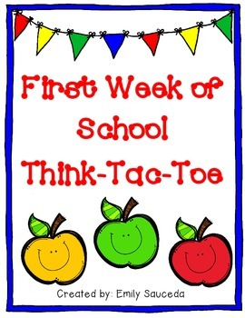 First Week of School Think-Tac-Toe