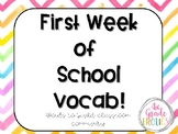 First Week of School Vocab