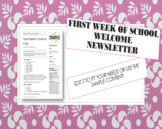 First Week of School Welcome Newsletter - Syllabus (Editable)