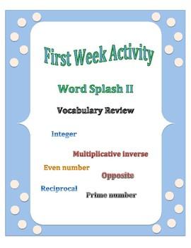 First Week of School: Word Splash Vocabulary Activity 2
