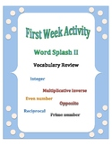 First Week of School: Word Splash Vocabulary Activity 2