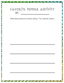 First Week of School Writing Journal Prompts (K-5)