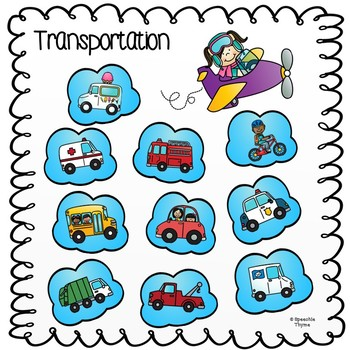 First Words/Early Vocabulary- Transportation- No Prep